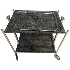 Midcentury Folding Serving Cart with Tray, France, 1970