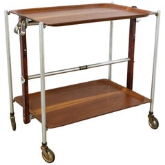 Midcentury Folding Trolley Mahogany Bar Cart for Textable, 1950
