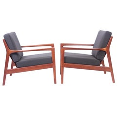 "Midcentury Folke Ohlsson ""USA 75"" Walnut Easy Chairs, 1960s"