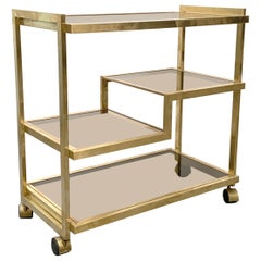 Midcentury Four Levels Bar Cart Italy Gold-Plated Brass and Smoked Glass, 1970s