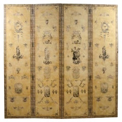 Midcentury Four-Panel Gray Tone Painted and Classical Decorated Screen