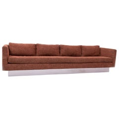 Midcentury Four-Seat Orange Tweed Tuxedo Sofa by Milo Baughman