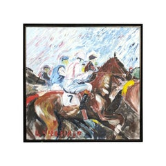 Midcentury Framed Oil on Canvas Painting Depicting Jockeys Riding Their Horses