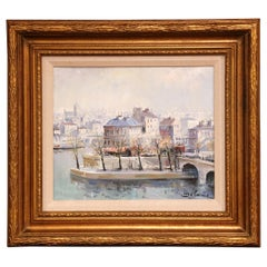 """Midcentury Framed Oil Painting """"L'Ile Saint-Louis, Paris"""" Signed L. Delarue"""