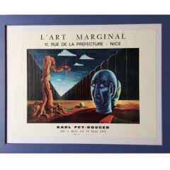 Midcentury Framed Surrealist Art Exhibition Poster, circa 1975