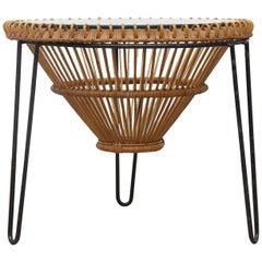 Midcentury Franco Albini Inspired Bamboo Side Table