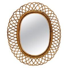 Midcentury Franco Albini Rattan and Bamboo Italian Oval Mirror, 1960