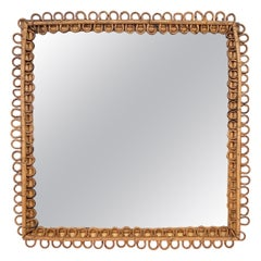 Midcentury Franco Albini Rattan and Bamboo Italian Squared Mirror, 1950s