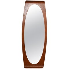 Midcentury Franco Campo and Carlo Graffi Curved Wood Italian Wall Mirror, 1960s