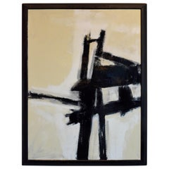 Mid-Century Modern Franz Kline Style Abstract Expressionist Painting