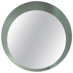 Midcentury Franz Sartori Italian Round Mirror with Double Frame Crystal Art 1960