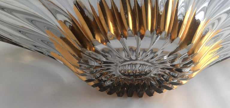 Hand-Crafted Midcentury Free Form Crystal Glass Centerpiece Attrib. Cofrac Art Verrier France For Sale