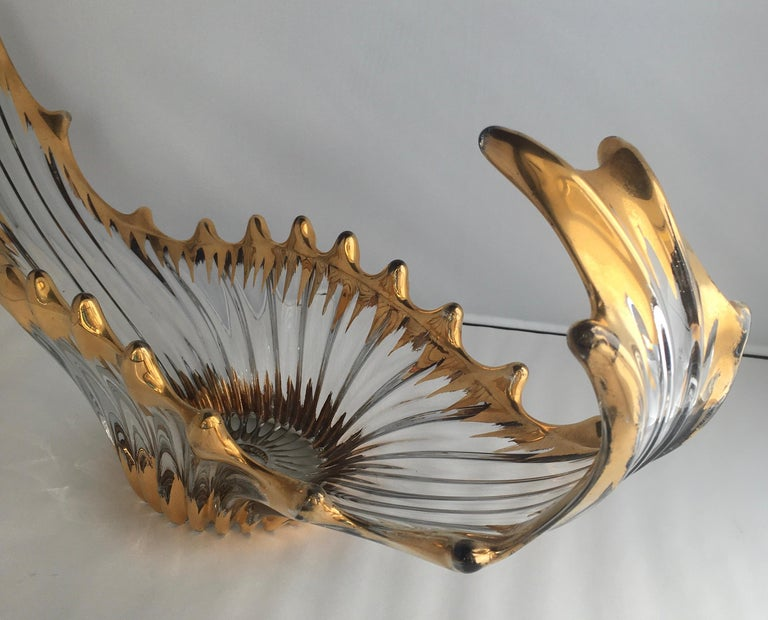 Midcentury Free Form Crystal Glass Centerpiece Attrib. Cofrac Art Verrier France In Good Condition For Sale In Arles, FR