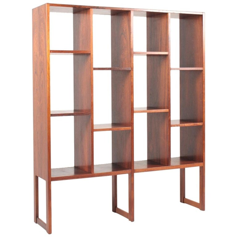 Midcentury Freestanding Bookcase in Rosewood, Made in Denmark, 1960s For Sale