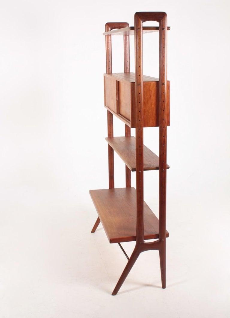 Brass Midcentury Freestanding Bookcase in Teak by Kurt Østervig, 1960s For Sale