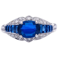Midcentury, French, 1940s, Sapphire and Diamond Engagement Ring
