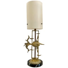 Midcentury French 1950s Brass and Marble Fish Lamp
