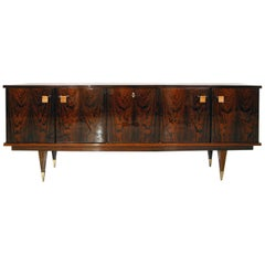 Midcentury French 1960s Lacquered Rosewood Sideboard by Roger Hilaire for Malora