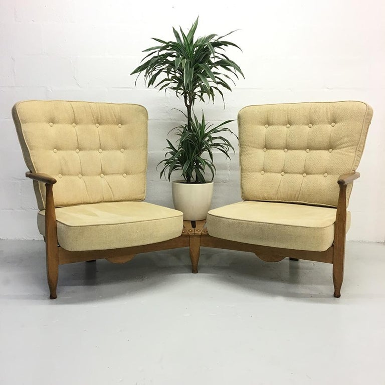 Mid-Century Modern Midcentury French 1950s Sofa Armchairs by Guillerme et Chambron for Votre Maison For Sale