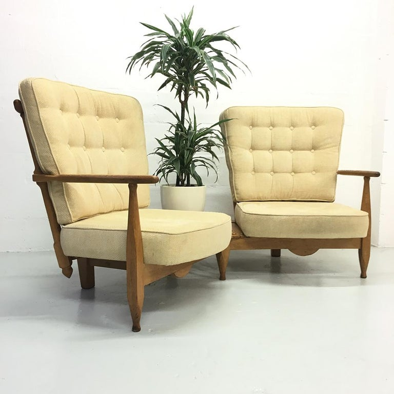 Midcentury French 1950s Sofa Armchairs by Guillerme et Chambron for Votre Maison In Good Condition For Sale In Sherborne, Dorset