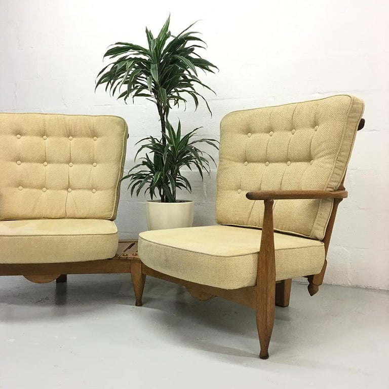 Mid-20th Century Midcentury French 1950s Sofa Armchairs by Guillerme et Chambron for Votre Maison For Sale