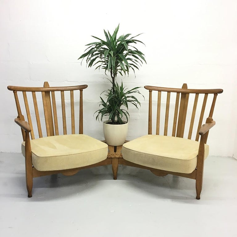 Fabric Midcentury French 1950s Sofa Armchairs by Guillerme et Chambron for Votre Maison For Sale