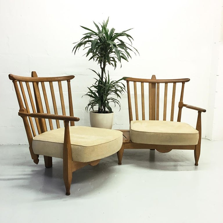Midcentury French 1950s Sofa Armchairs by Guillerme et Chambron for Votre Maison For Sale 1