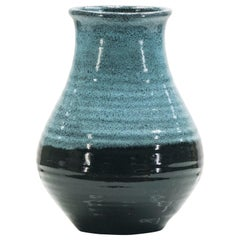 Midcentury French Accolay Pottery Turquoise Ceramic Vase, 1960s