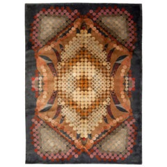 Midcentury French Art Deco Abstract Butterfly Design Handmade Wool Rug