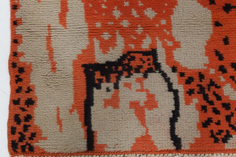 20th Century Midcentury French Art Deco Beige, Black and Orange Wool Rug For Sale