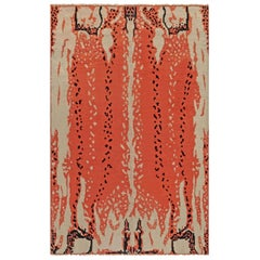 Midcentury French Art Deco Beige, Black and Orange Wool Rug