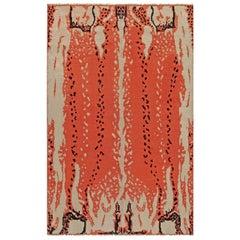 Midcentury French Art Deco Beige, Black and Orange Wool Rug