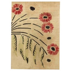 Midcentury French Art Deco Beige, Red and Black Handwoven Wool Rug