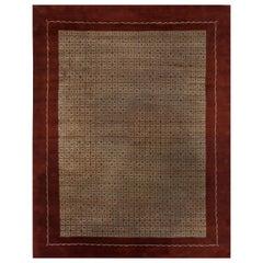 Midcentury French Art Deco Burgundy & Beige Handmade Wool Rug by Paule Leleu