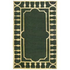 Midcentury French Art Deco Emerald Green and Ivory Handmade Wool Rug