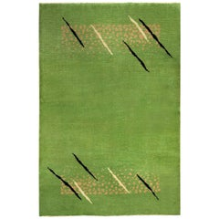 Midcentury French Art Deco Green Handmade Wool Rug