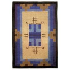 Midcentury French Art Deco Handmade Wool Rug in Blue, Beige, Brown and Black