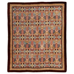 Midcentury French Art Deco Handmade Wool Rug in Blue, Rose and Beige