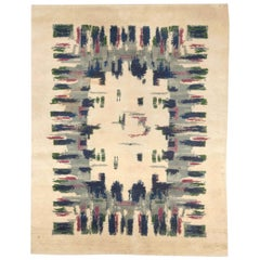 Midcentury French Art Deco Handmade Wool Rug in Light Green, Blue, Grey and Pink