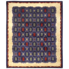 Midcentury French Art Deco Handwoven Wool Rug by Paule Leleu in Blue and Red