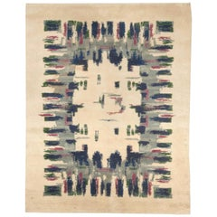 Midcentury French Art Deco Light Green, Blue, Grey and Pink Wool Rug