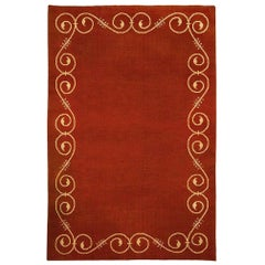 Midcentury French Art Deco Red and Beige Handmade Wool Rug