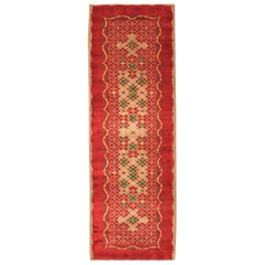 Midcentury French Art Deco Red, Yellow, Taupe and Green Handmade Wool Runner
