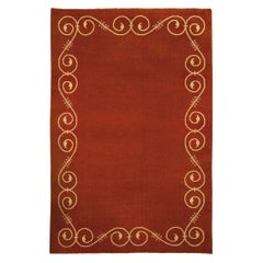 Midcentury French Art Deco Ruddy Brown and Beige Handmade Wool Rug