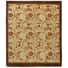 Midcentury French Art Deco Rug Designed by Noel Hostens in Beige and Brown