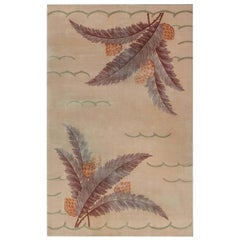Midcentury French Art Deco Rug with Pine-Cone Design on Beige Background