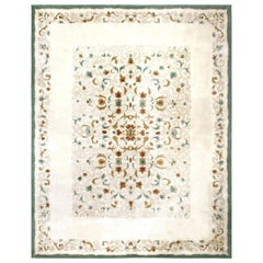 Midcentury French Art Deco White, Brown and Green Handmade Rug by Paule Leleu