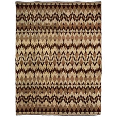 Midcentury French Art Deco Wool Rug by Paul Haesaerts in Beige and Brown