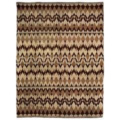 Midcentury French Art Deco Wool Rug by Paul Haesaerts in Beige and Brown