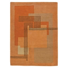 Midcentury French Art Deco Wool Rug in Orange, Brown, Salmon and Beige